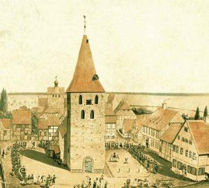 Stadtkirche mit Schützenumzug um 1800